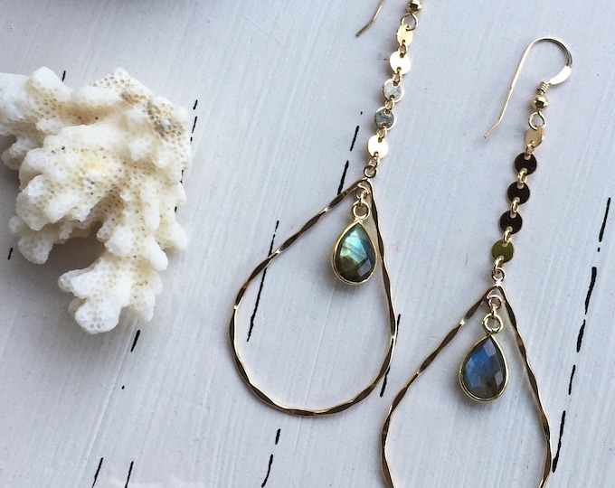 Labradorite Coin Drop Teardrop Hoops/14k Gold Filled