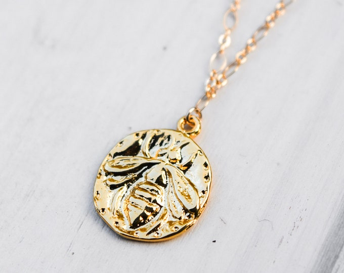 Gold Honeybee Medallion Charm Necklace/20""