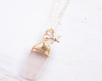 Pink Seaglass Necklace/14k Gold Filled/18""