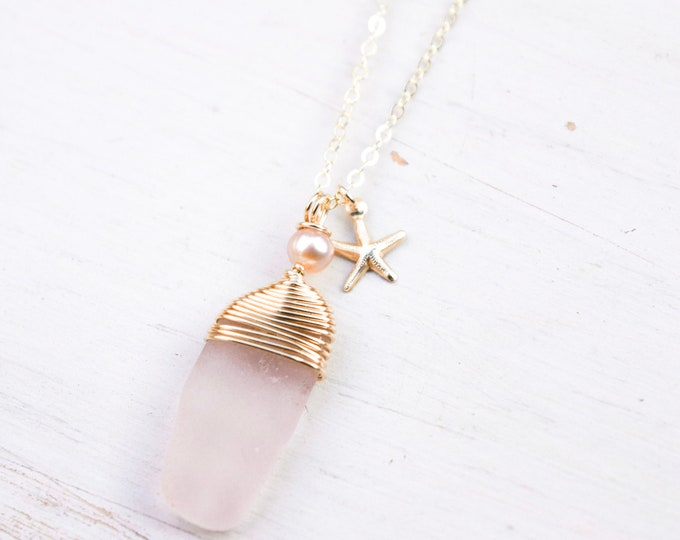 """Pink Seaglass Necklace/14k Gold Filled/18"""""""