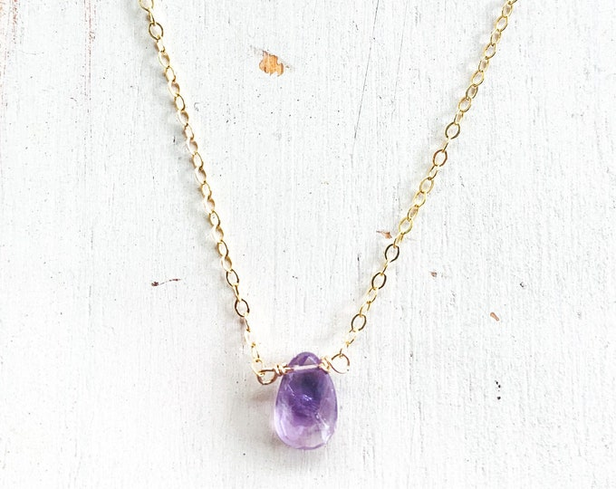 Dainty Amethyst Stone Necklace/18""