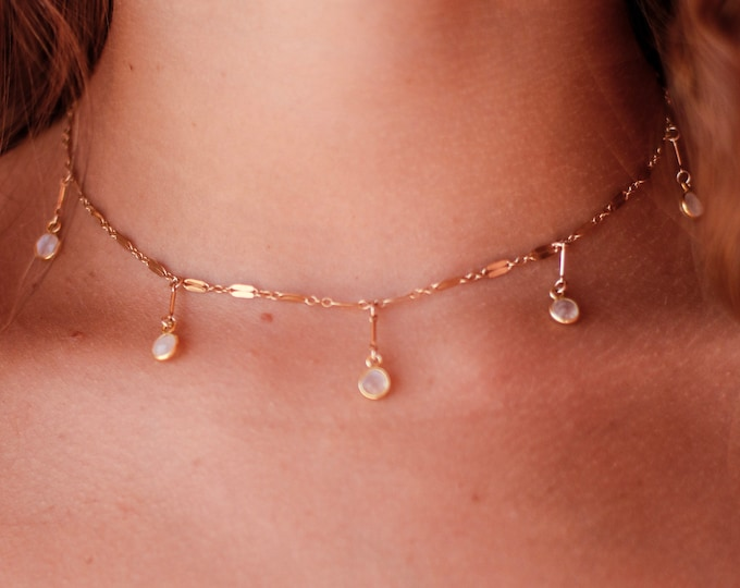 Moonstone Collection/ Moonstone Gemstone Dangling Choker/15""