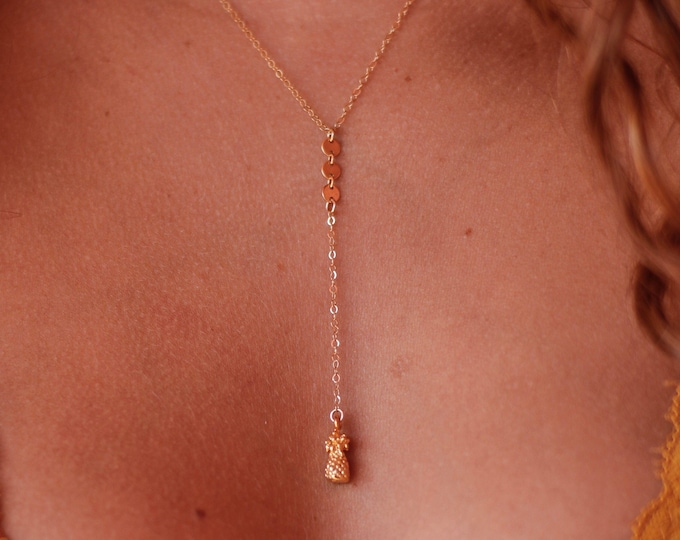 Pineapple Lariat Necklace/16""