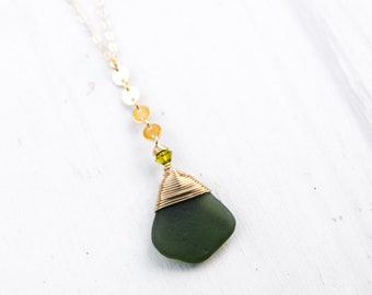 Olive Green Seaglass Necklace/18""