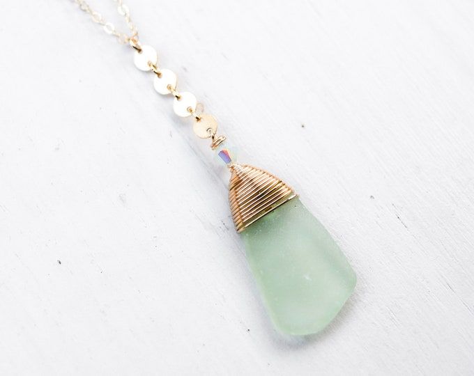 Mint Green Seaglass Necklace/18""