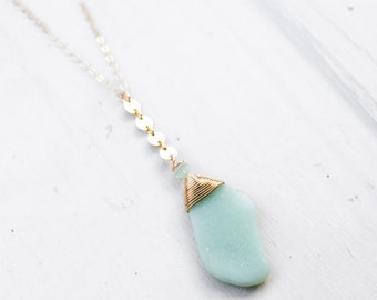 Seafoam Sea Pottery Necklace/18""