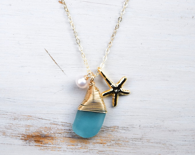 """Turquoise Seaglass with Pearl & Starfish/14k Gold Filled /18"""""""