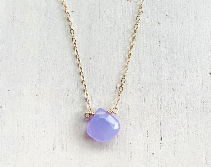 Purple Chalcedony Gemstone Necklace/14k Gold Filled