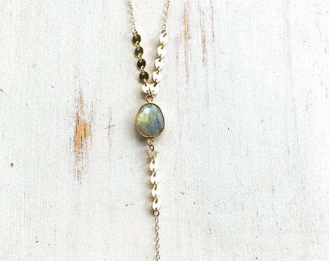 "Labradorite Gemstone Necklace/14k Gold Filled/21"""