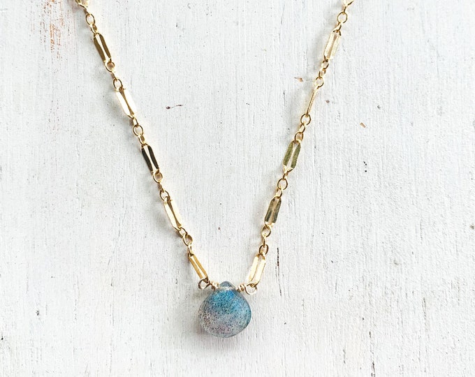 Labradorite Sparkle Necklace/14k Gold Filled/16""