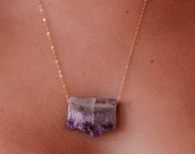 Raw Amethyst Slice Necklace/14k Gold Filled/20""