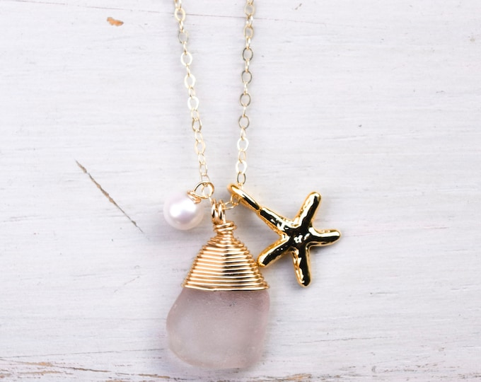 """Pink Seaglass with Pearl and Starfish Charm/14k Gold Filled/18"""""""