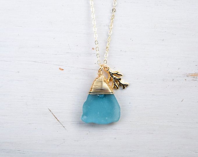 """Turquoise Seaglass x Coral Charm/14k Gold Filled/18"""""""