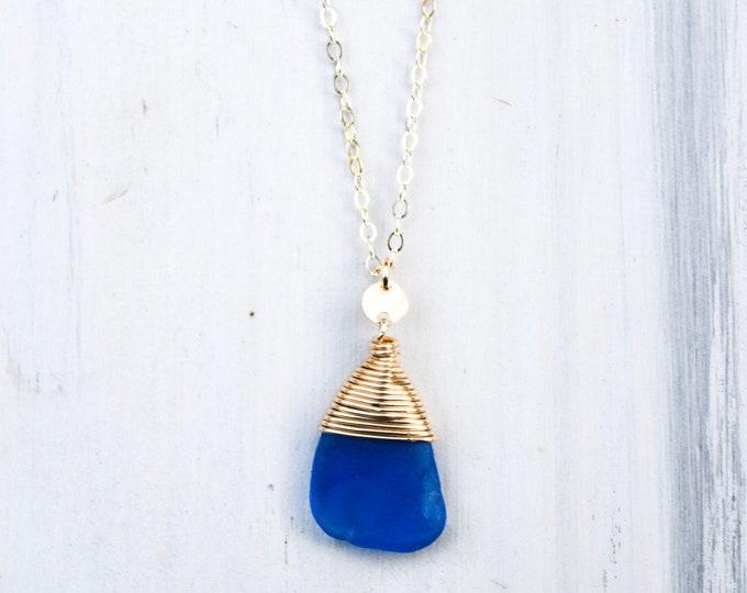 """Cobalt Blue Seaglass Necklace/14k Gold Filled/18"""""""
