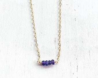 Tiny Amethyst Bar/14k Gold Filled/15""