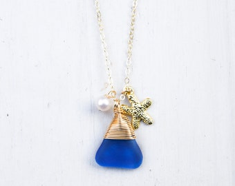 Cobalt Blue Seaglass with Pearl and Starfish Charm/14k Gold Filled/18""