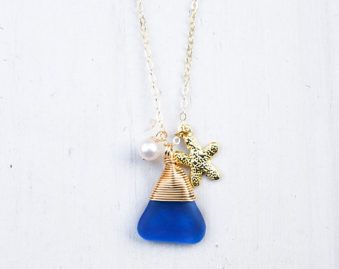 """Cobalt Blue Seaglass with Pearl and Starfish Charm/14k Gold Filled/18"""""""