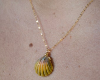 Yellow, Green and Pink Sunrise Shell/14k Gold Filled/18""