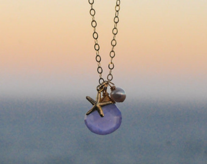 Purple Chalcedony Stone Necklace/14K Gold Filled/16""