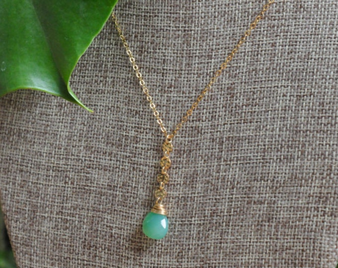 Chrysoprase Collection/ Coin Drop Stone Necklace/14K Gold Filled