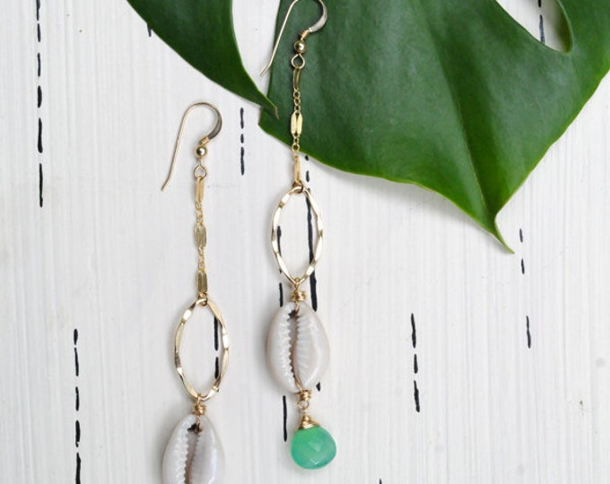 Chrysoprase Collection/ Cowrie x Stone Earrings/14K Gold Filled