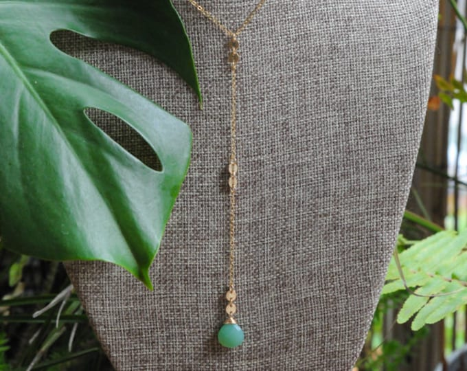 Chrysoprase Collection/ Lariat Stone Necklace/14K Gold Filled