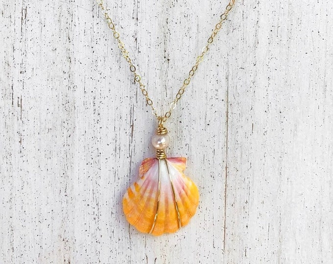 Yellow and Pink Sunrise Shell Necklace/14k Gold Filled/Freshwater Pearl