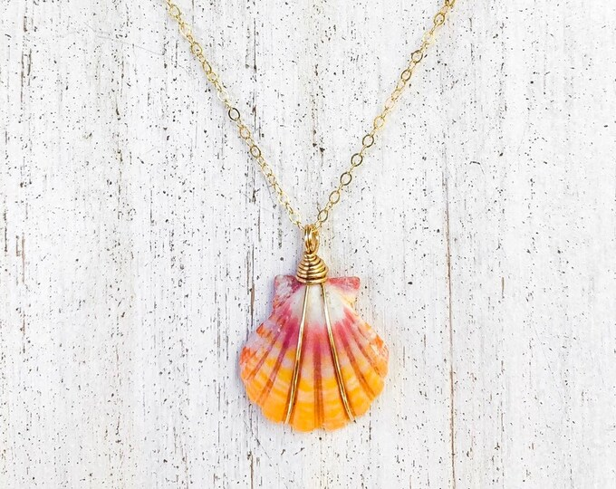 Bright Pink and Yellow Sunrise Shell/14k Gold Filled