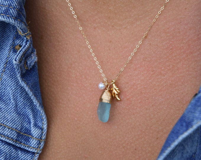 """Turquoise Seaglass Necklace/18"""""""