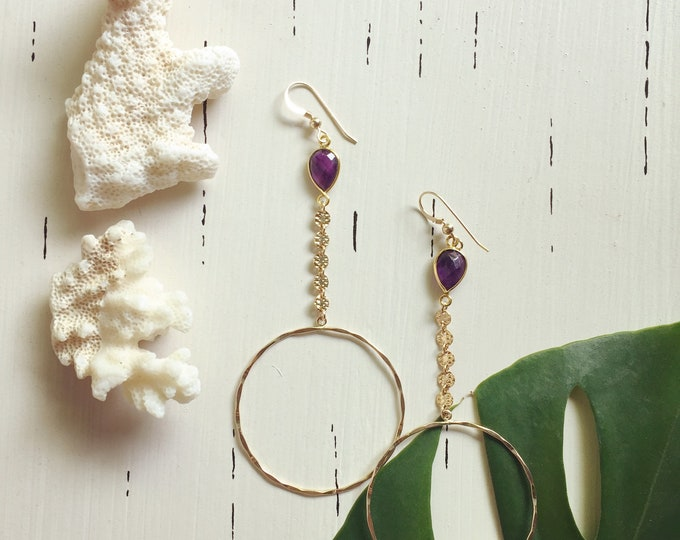 Amethyst Coin Hoop Earrings/14k Gold Filled