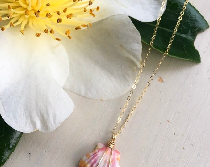 Red Orange and Pink Sunrise Shell Necklace /14k Gold Filled/18""