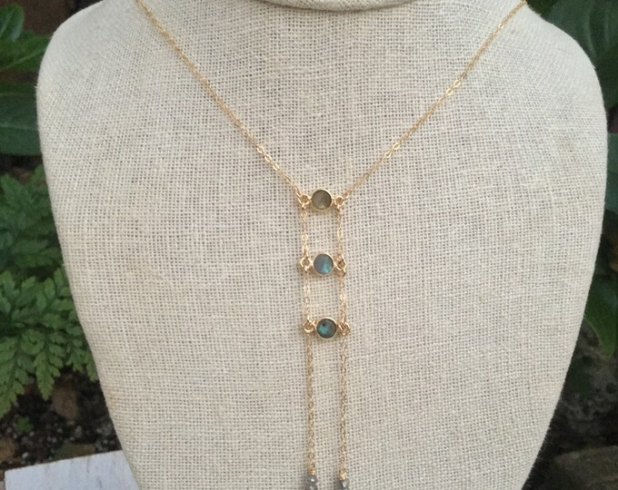 Tiny Gemstone Ladder Necklace/Labradorite /14k Gold Filled