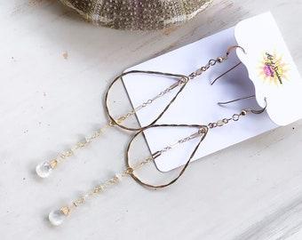 Teardrop Moonstone Dangle Earrings/14k Gold Filled