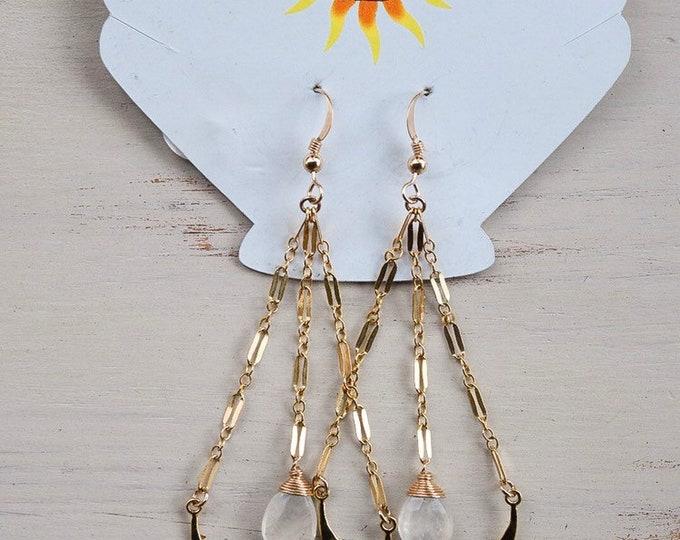 Moonstone Sparkle Hoops/14k Gold Filled