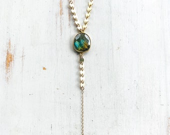 Labradorite Gemstone Lariat/14k Gold Filled/24""