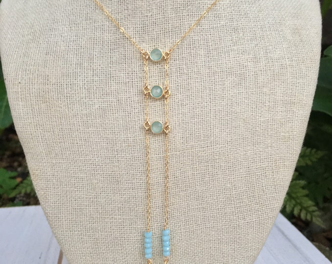 Tiny Gemstone Ladder Necklace/Sea Foam Chalcedony/14k Gold Filled