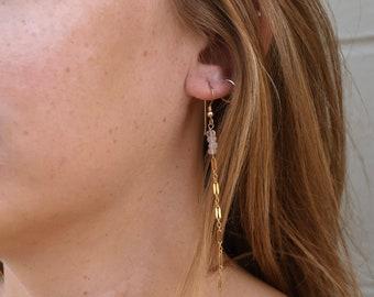 Rose Quartz Dangle Earrings/14k Gold Filled