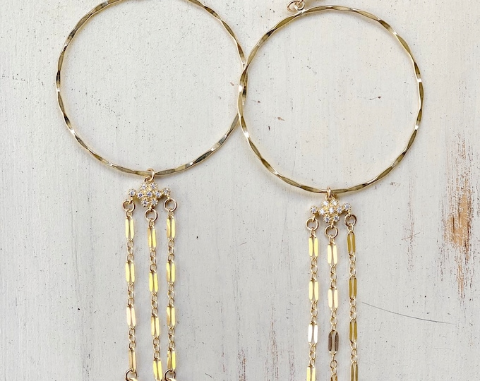 Sparkle Chain Hoop Earrings/ Cubic Zirconia Floral Link/14K Gold Filled