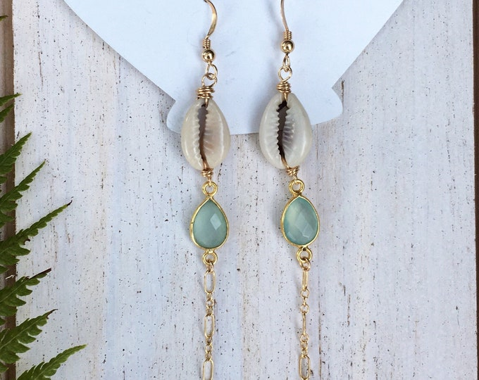 Sea Foam Chalcedony x Cowire Shell Earrings/14k Gold Filled