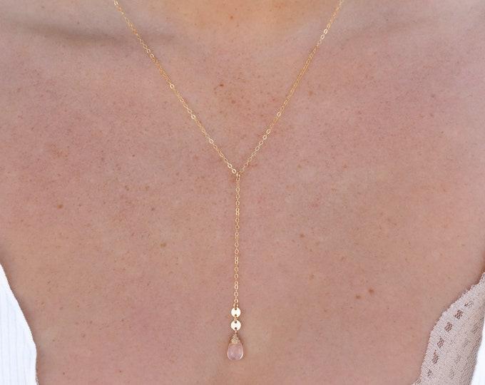 """Rose Quartz Lariat Necklace/14k Gold Filled/18"""""""