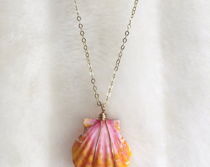 Bright Yellow, Orange and Pink Sunrise Shell Necklace/14k Gold Filled/18""