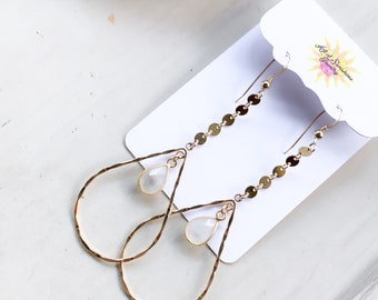 Moonstone Coin Drop Teardrop Hoops/14k Gold Filled