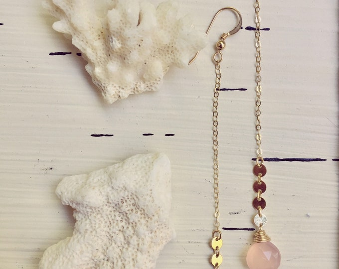 Pink Chalcedony Coin Drop Earrings/14k Gold Filled