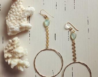 Seafoam Chalcedony Coin Hoop Earrings/14k Gold Filled