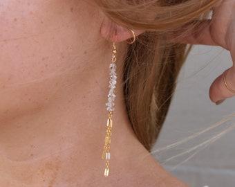 Herkimer Diamond Long Dangle Earrings/14k Gold Filled
