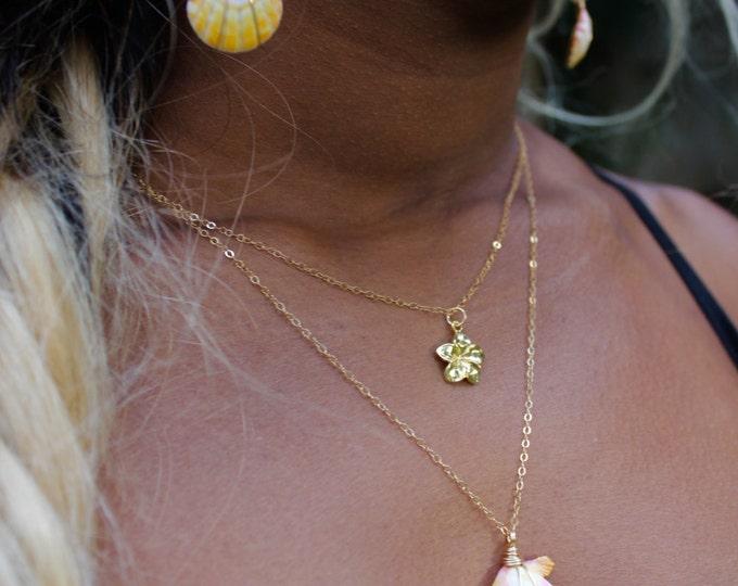 Plumeria Dainty Charm Necklace~
