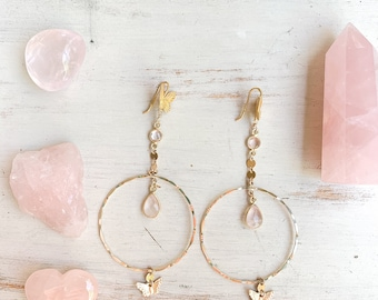 Self Love Rose Quartz Hoops