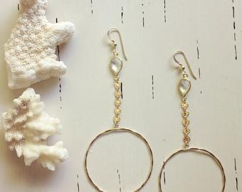 Quartz Coin Hoop Earrings/14k Gold Filled