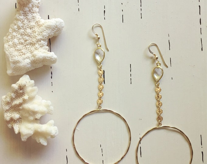 Quartz Coin Hoop Earrings/14k Gold Filled