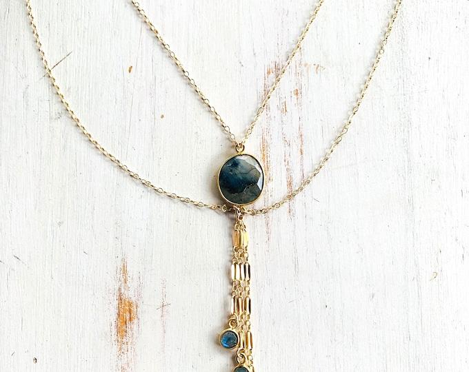 "Multi Strand Labradorite Necklace/18"""